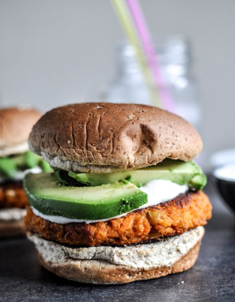 Smoky Sweet Potato Burgers with Roasted Garlic Cream Cheese and Avocado